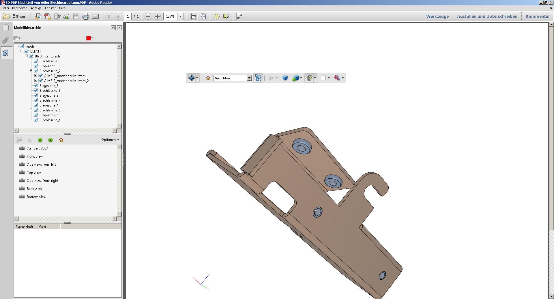 Blechteil als 3D PDF zur Visualisierung Blechbearbeitung