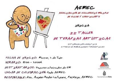 CARTEL SEGUNDO TALLER DE TERAPIAS ARTISTICAS 2 JULIO.