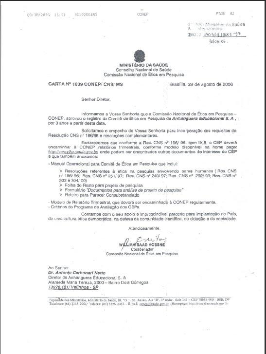 20217e654157a Registro do CEP  CONEP - COMITÊ DE ÉTICA EM PESQUISA COM SERES HUMANOS