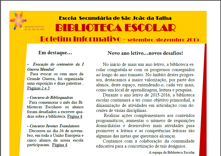 Capa do Boletim Informativo da Biblioteca