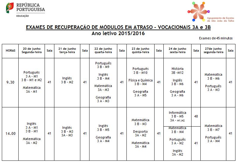Calendário Exames dos cursos vocacionais - 3A e 3B