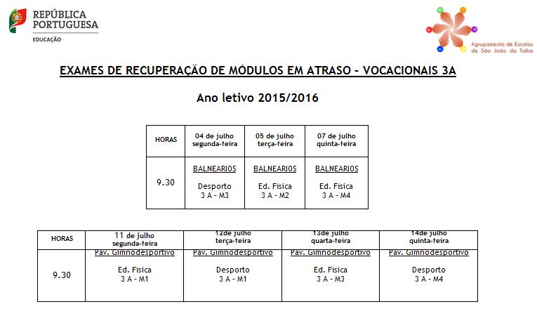 Exames dos cursos vocacionais - 3A