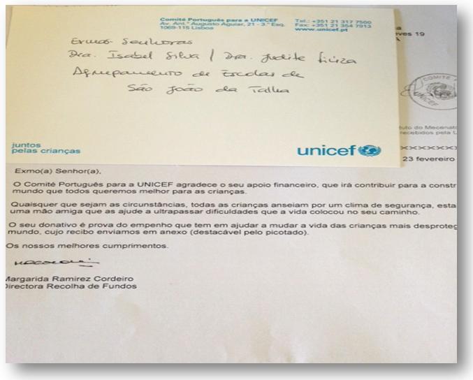 Carta digitalizada da UNICEF!
