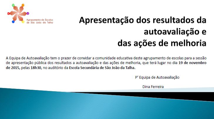 Diapositivo 1, apresentação resultados da avaliação interna