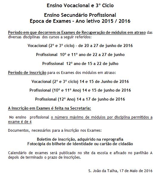 Inscrição para exames dos cursos profissionais e vocacionais