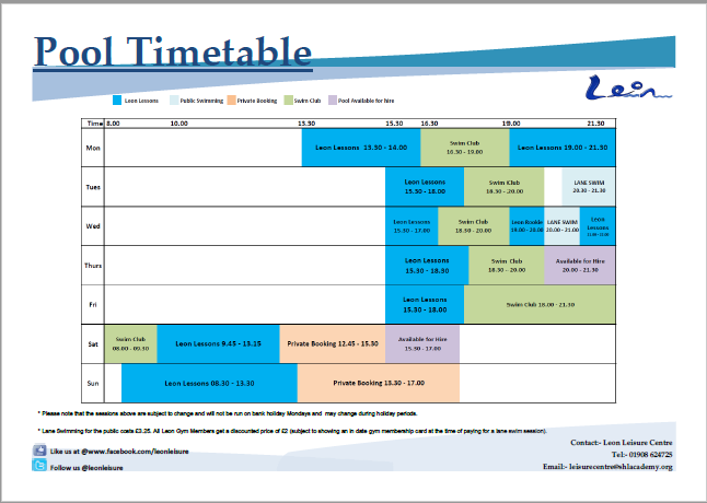 Swimming sir herbert leon academy leisure centre for Swimming pool fermoy timetable