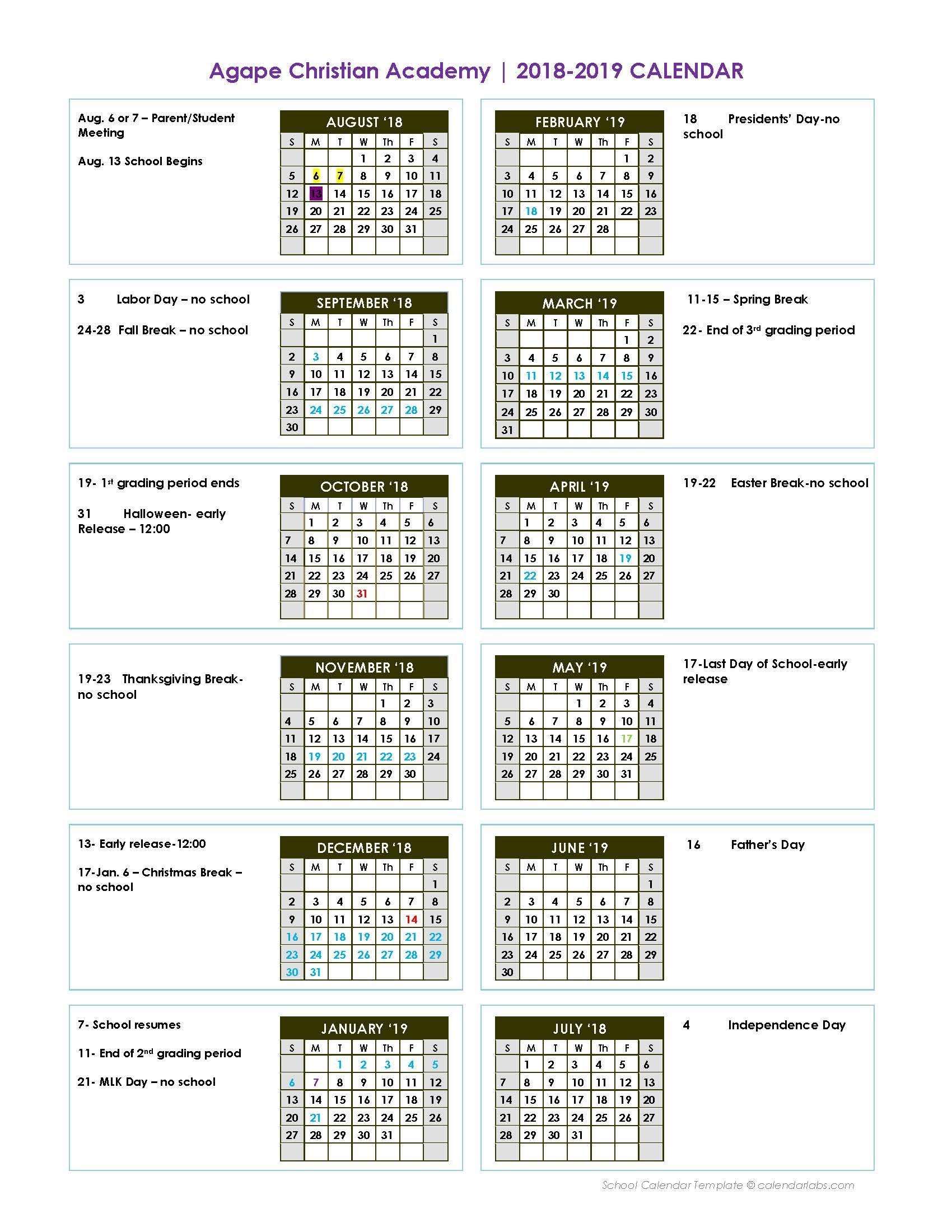 Christian Calendar 2019 2018   2019 Calendar   Agape Christian Academy