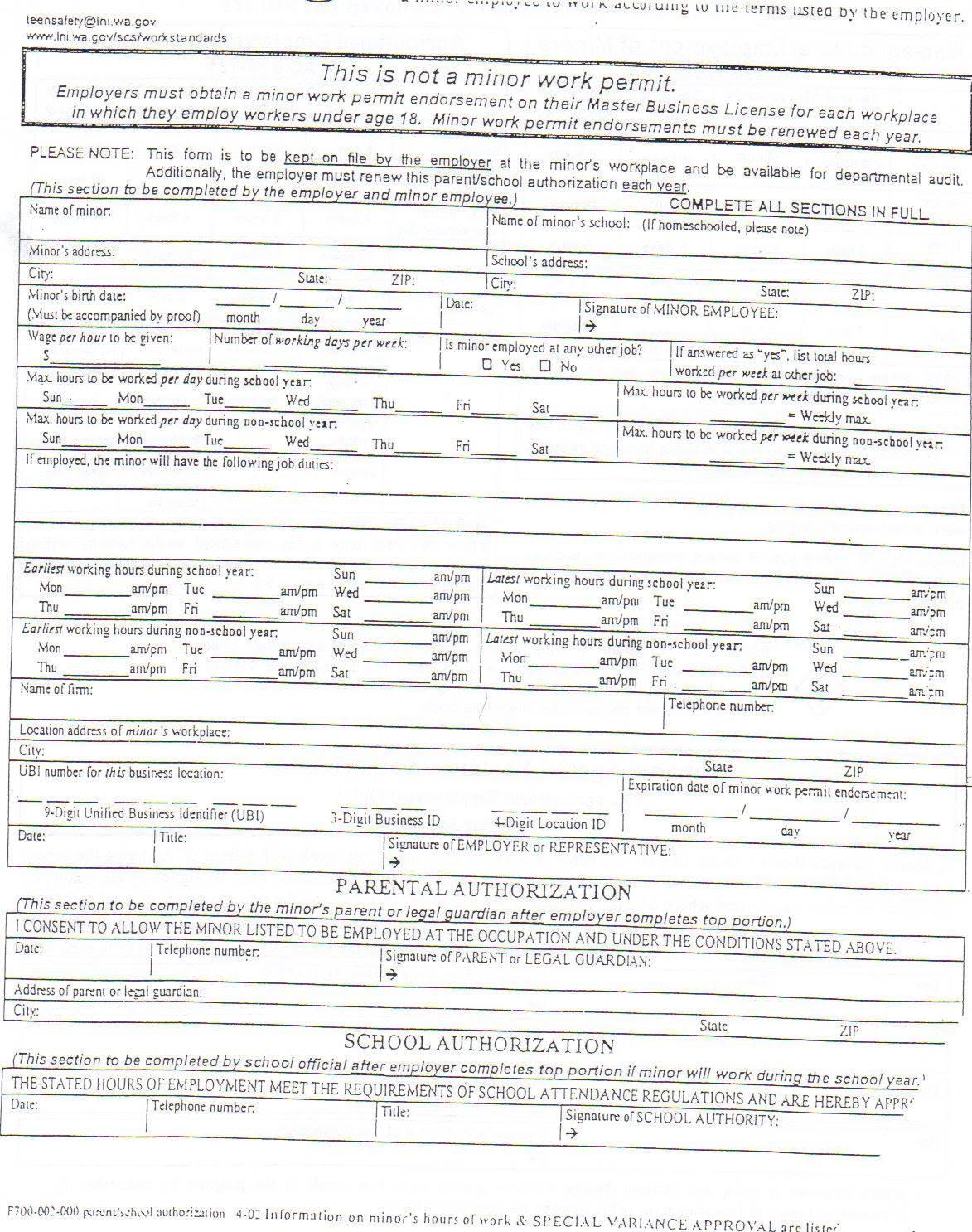 Parent authorization form