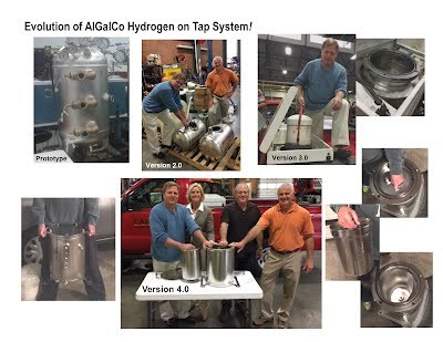 """Introducing AlGalco's Hydrogen on Tap System, Version 4.0.""""  As shown, from Prototype to the first commercially available product for sale, 80% of the weight and size has been eliminated while doubling the quantity of on demand hydrogen produced. Supplemental hydrogen, now available for commercial and municipal fleet vehicles especially for those operating under some form of green initiative"""