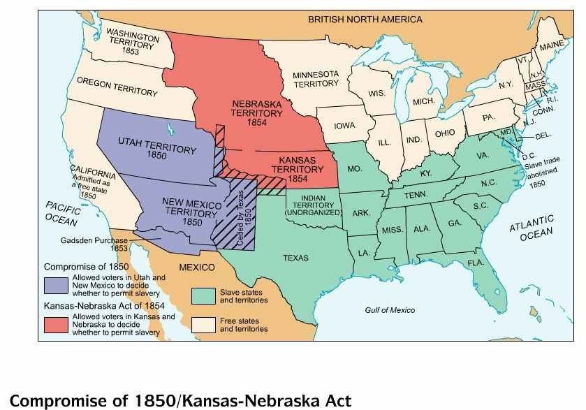 Missouri Compromise Map Activity Answer Key - Compromise of 1850 map