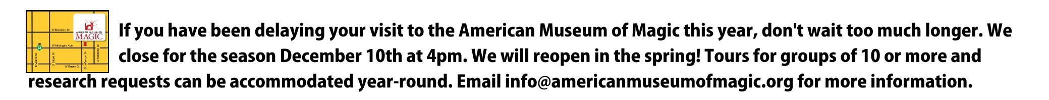 AMM closes for the season on Dec. 10, 2017