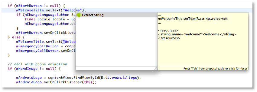 Java Extract String Quickfix - Android Studio Project Site
