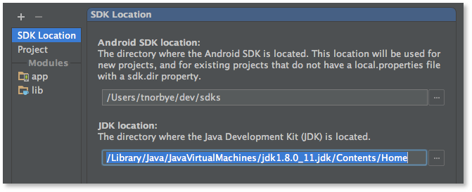 Mac OSX JDK Selection - Android Studio Project Site