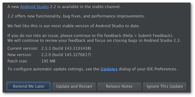 Android Studio 2.2 Stable