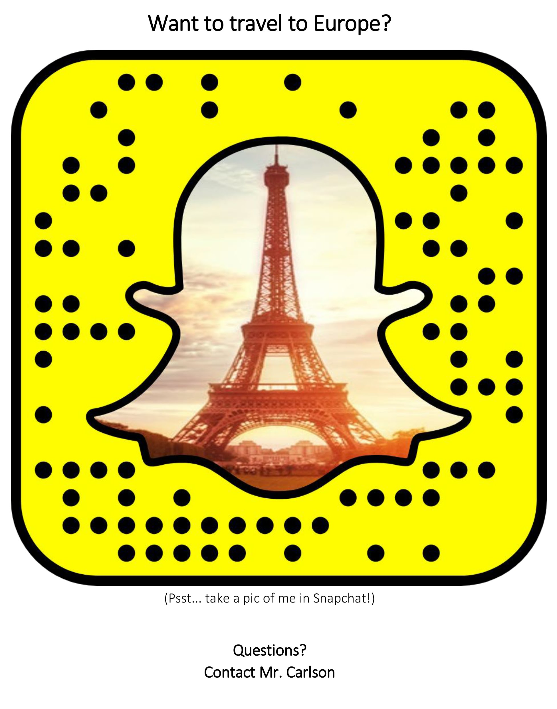 Art Club Travel Opportunity Snap Chat Link