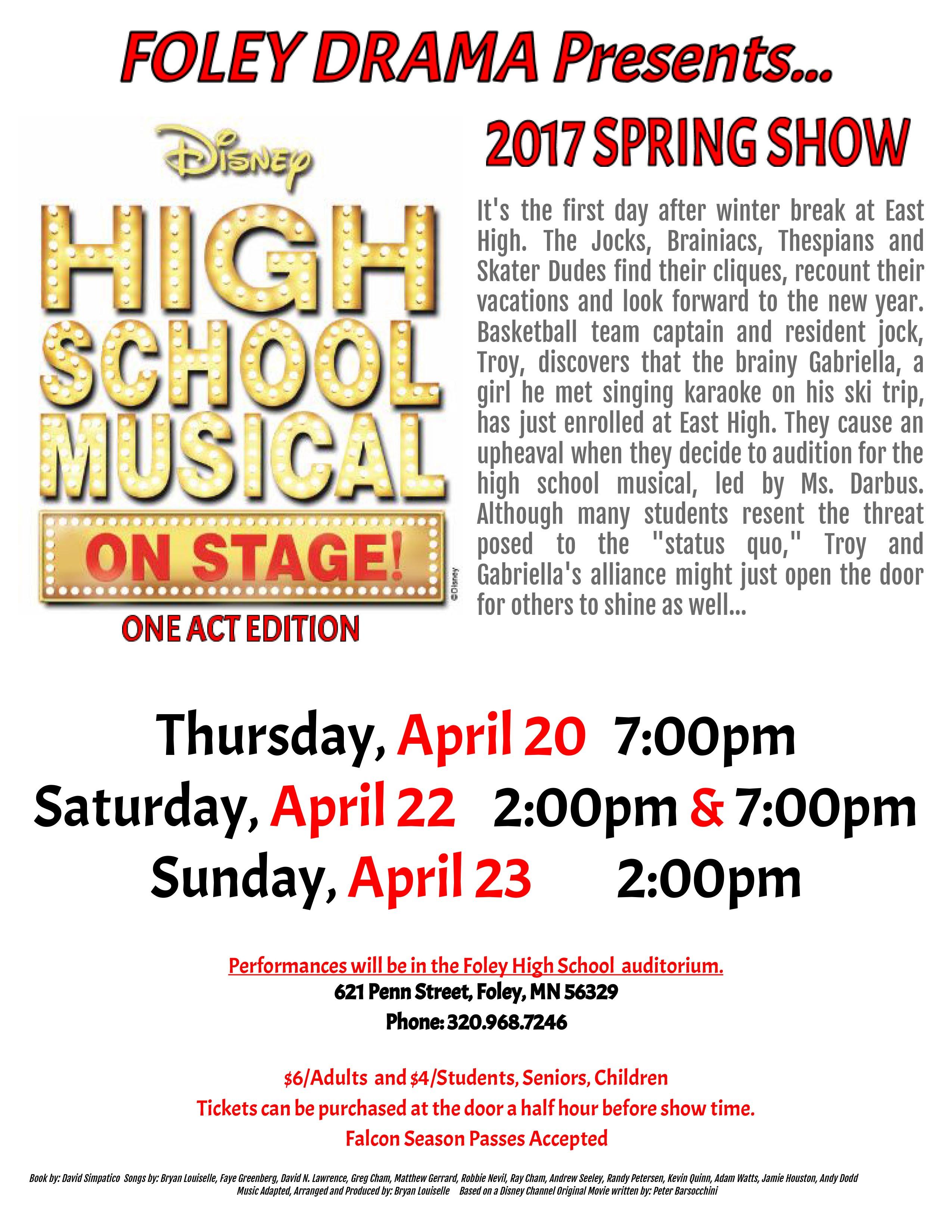 "Foley Drama presents ""High School Musical - On Stage!"""