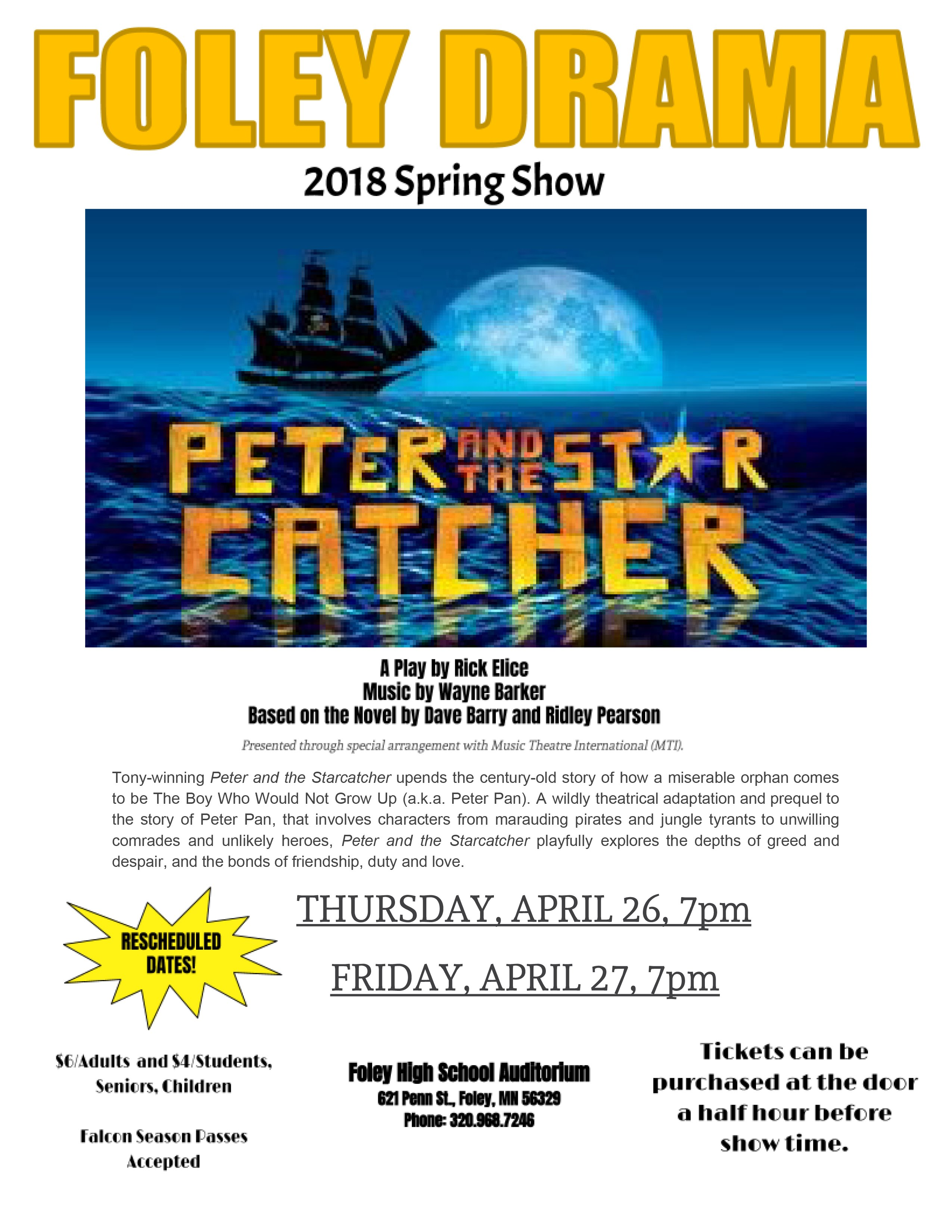 "2018 Spring Show ""Peter and the Starcatcher"" - Rescheduled dates"