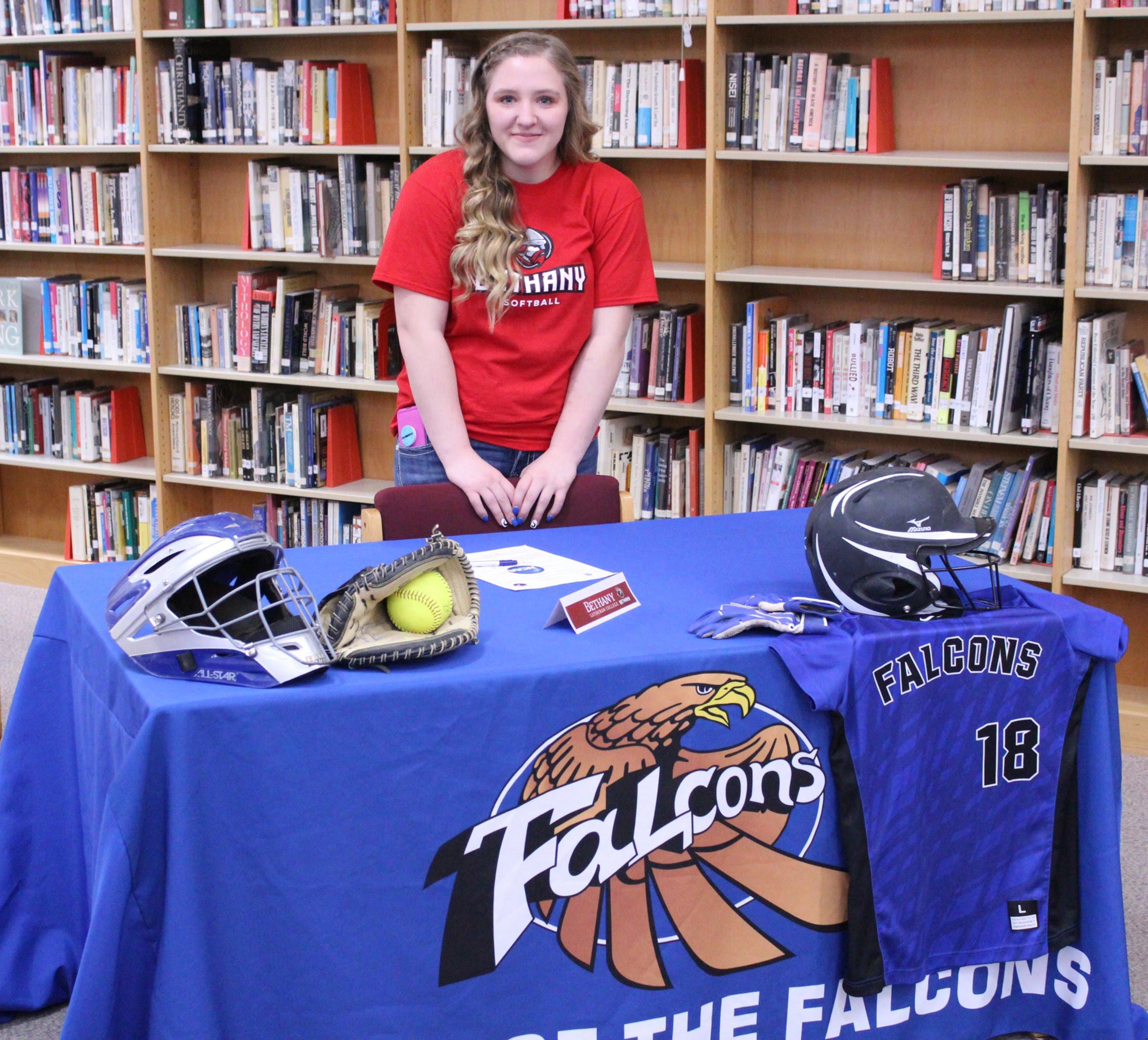 Foley High School Senior, Vanessa Midas, signing to play softball with Bethany Lutheran College
