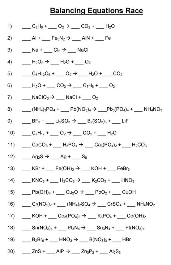 Simple Chemical Equations to Balance Worksheets Balancing Chemical ...