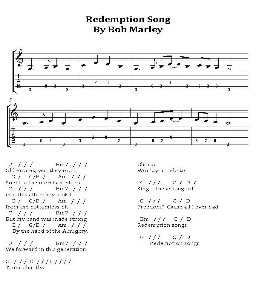 Redemption Song By Bob Marley And The Wailers Learn To Play Guitar