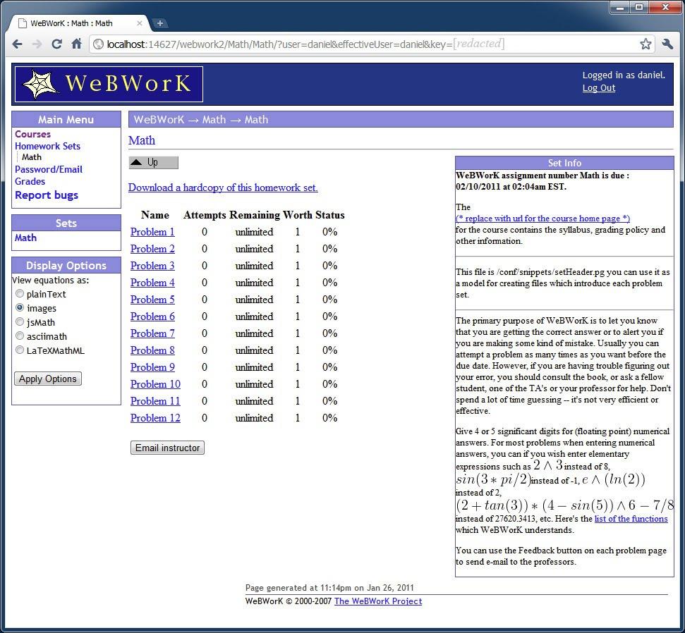 homework uci webwork
