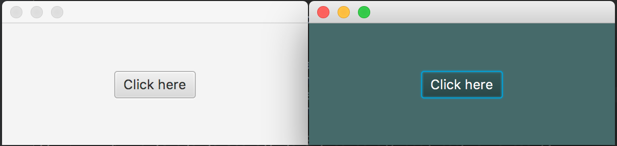 JavaFX Button with and without styling