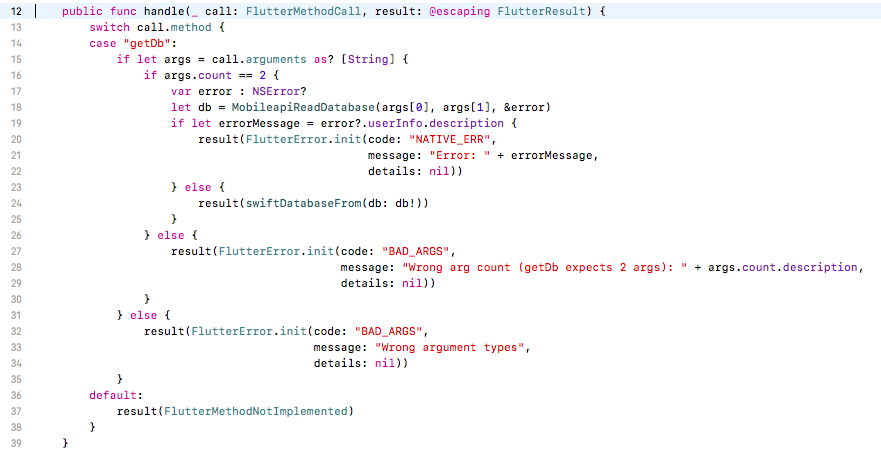 Swift implementation of handle() method
