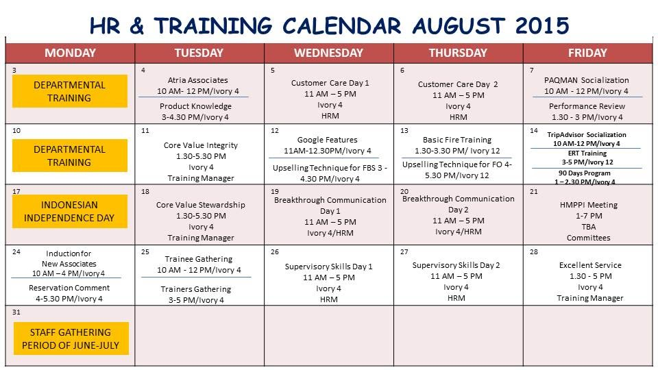 Training Calendar - Our Voice Atria Hotel & Residences