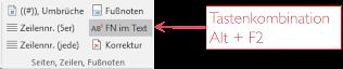 Button Fn im Text und Tastenkombination Alt+F2
