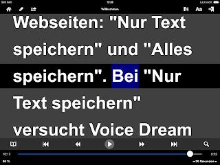 VoiceDream, Text invers