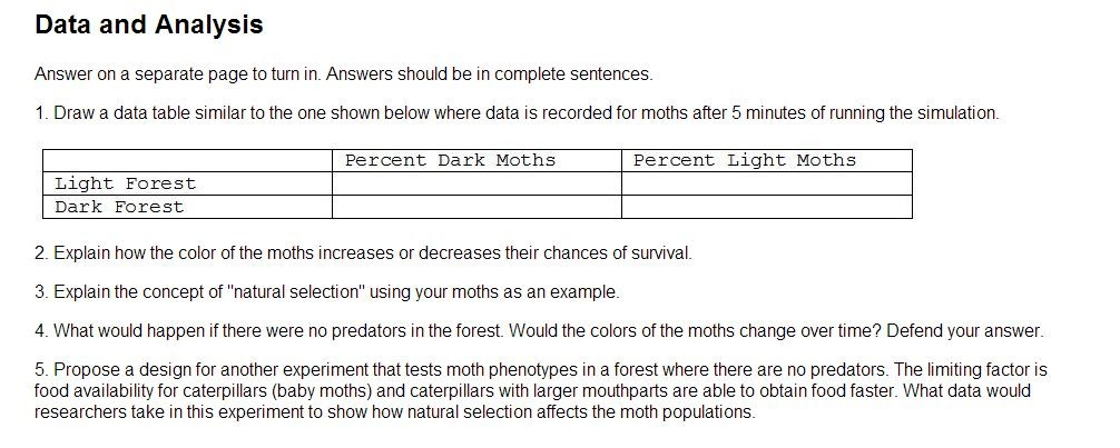 Unit 3 We Are Still Evolving Ms Evangelistas MS Science – Peppered Moth Simulation Worksheet