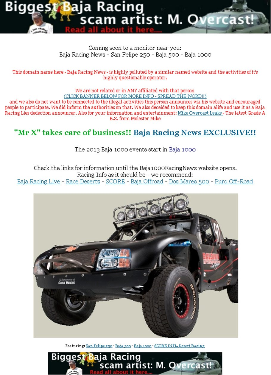 Mike Overcast BS Baja Racing Lies years of stealing, fraud, plagiarism Read all at bajaracersnews.blogspot.mx