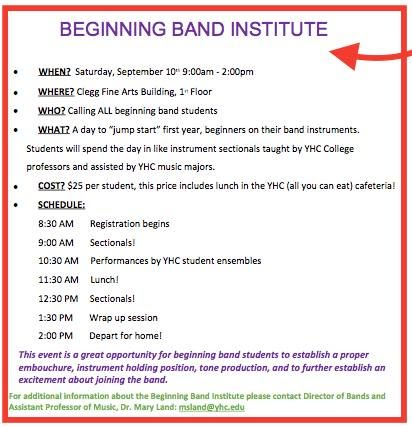 Young Harris College Beginning Band Institute September 10