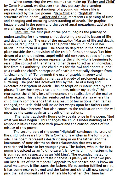 gwen harwood essays Free essays suburban sonnet by gwen harwood essay suburban sonnet by gwen harwood essay 696 words aug 14th, 2012 3 pages.