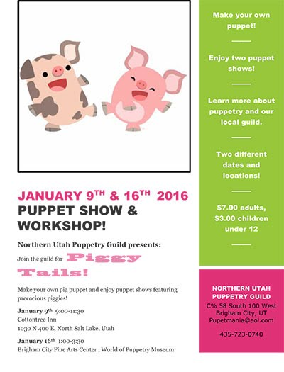 Piggie Tales Puppet workshop at the Brigham City Fine Arts Center SAturday, January 16