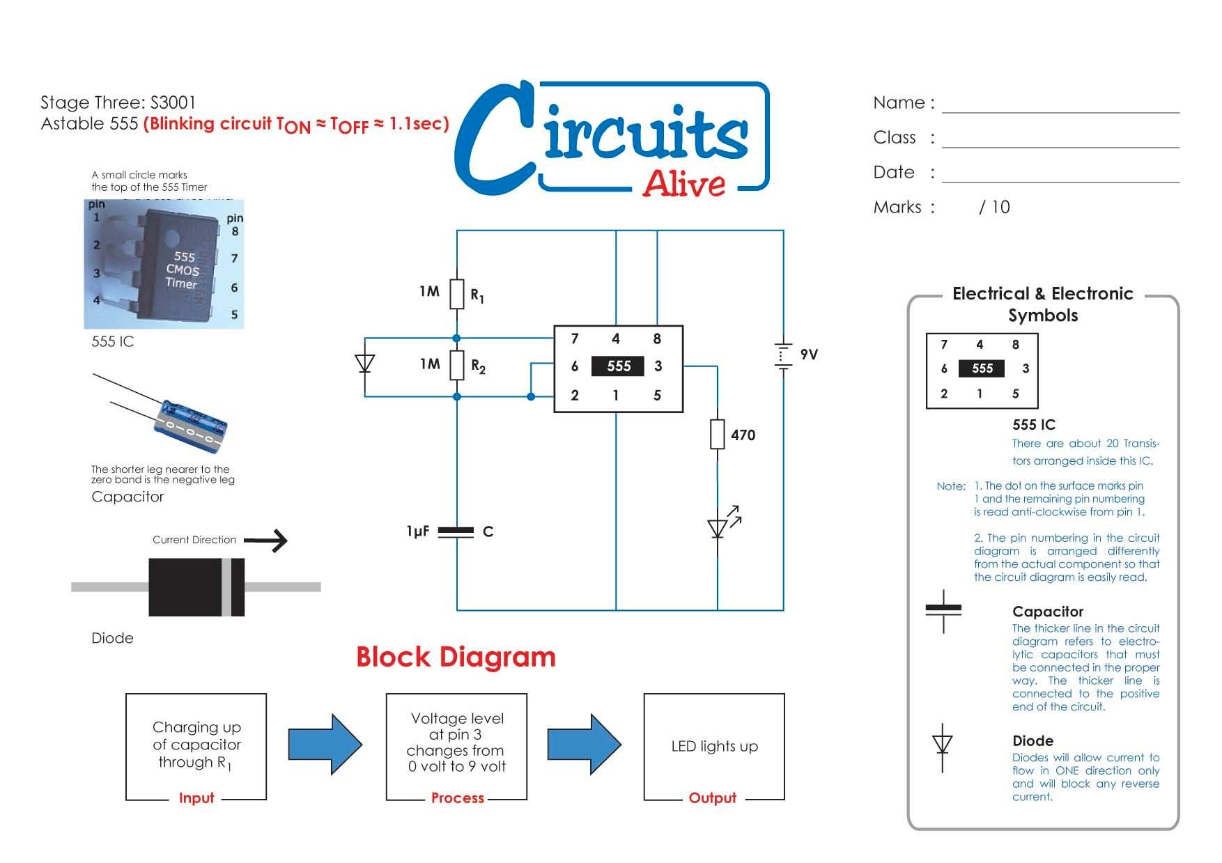 Circuit Diagram Pulse Generator G0cwa Rf Signal Main Ic 555 Led Flasher Eleccircuitcom Or Blinking