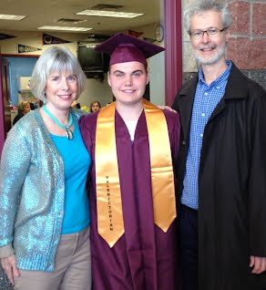 Valedictorian Victor Grabowski with Beth and Mark