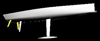 Wide Light Model Hull, twin & single rudders shown