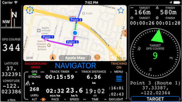 Off road navigation along the route  - speedohelp