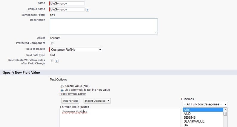 Salesforce workflow for BluSynergy recurring billing connector