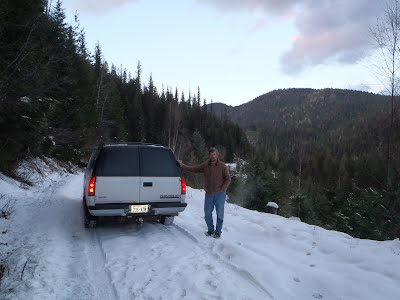 Snow!; I will get out and push the car for a few miles to camp