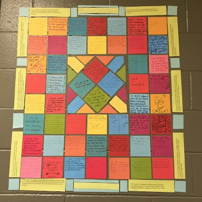quilt squares from 2015 Inservice on FYWP wall