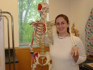 Mrs. Garfield with her skeleton friend.