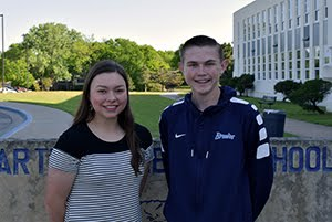 Sophomore Students of the Month for April, Caroline Pattison and Harold Borg