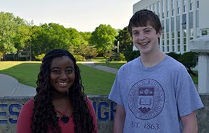 Freshman Students of the Month for April Claire Chipinda and Christian Ennis