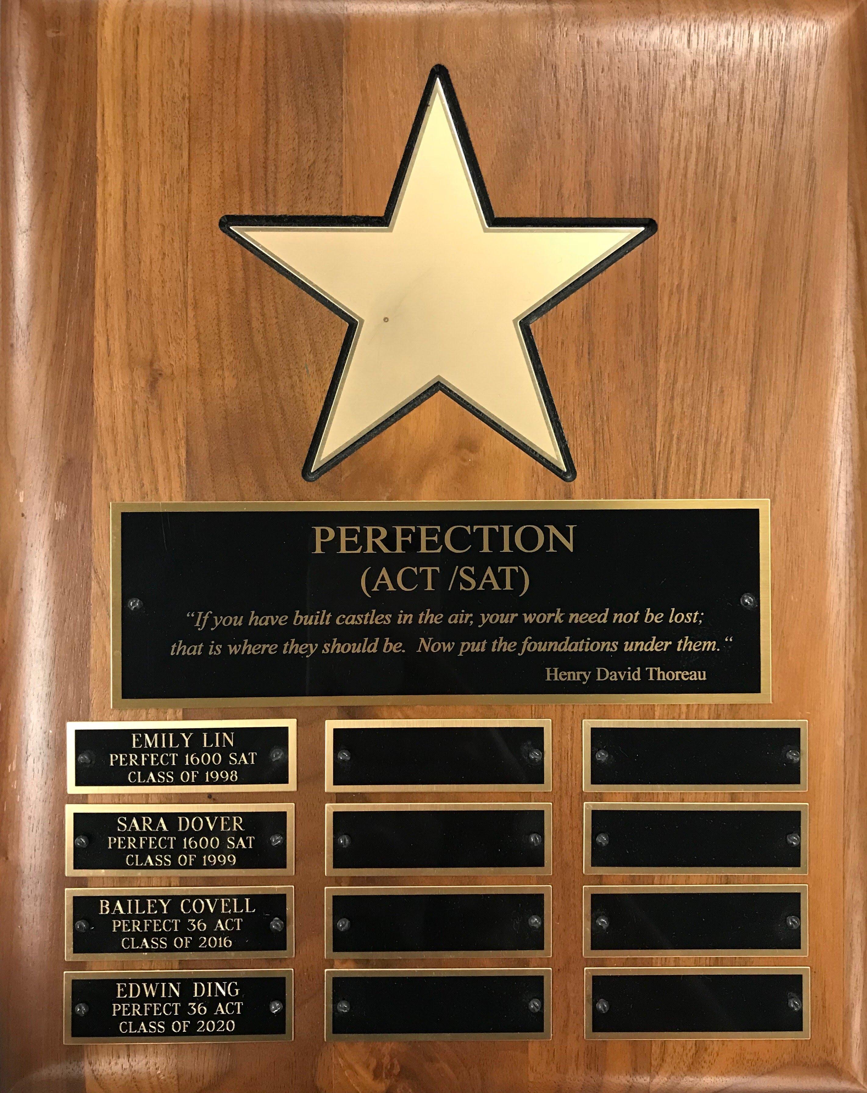 Perfect ACT/SAT Scores Plaque