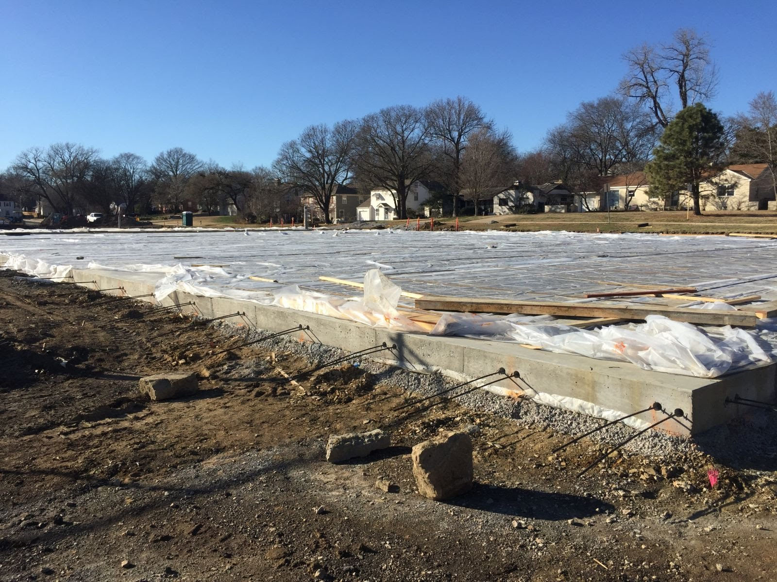 Tennis courts poured