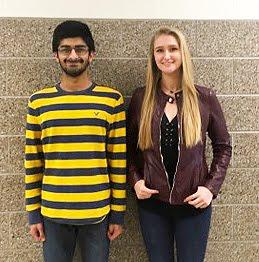 Juniors, Sohaib Ali & Leesha Gilliland February 2018 Students of the Month