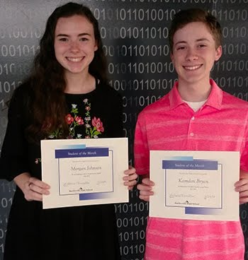 Sophomores, Morgan Johnson & Kamden Bryan, Students of the Month for April, 2018