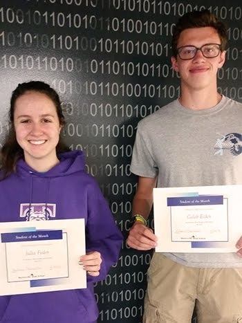 Juniors, Julia Fodor & Caleb Eiden, Students of the Month for April 2018